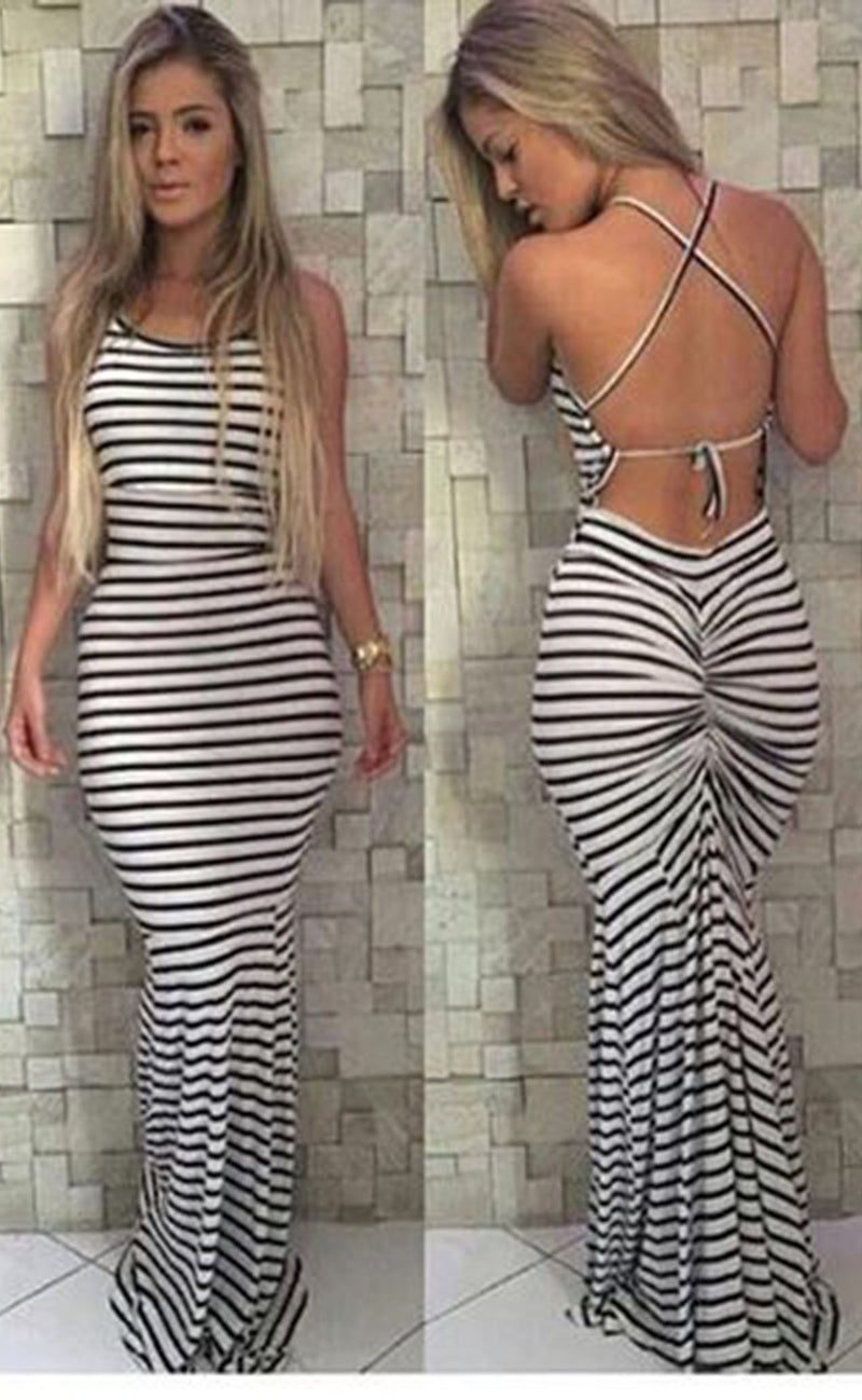 Sleeveless Backless Spaghetti Strap Stripe Long Dress - Meet Yours Fashion - 2