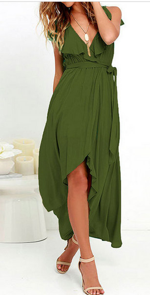 Chiffon Deep V-neck Sleeveless Irregular Long Dress - Meet Yours Fashion - 1