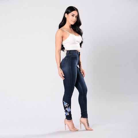 Plus Size Stretch Embroidery Skinny Denim Pants