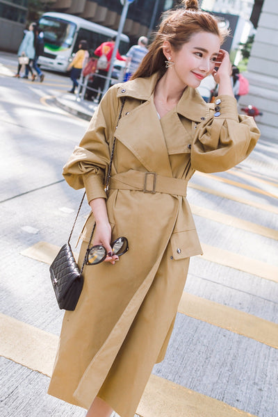 Solid Color Lapel Belt Pockets Decorate Long Coat