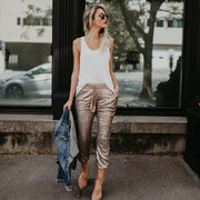 High Waist Elastic Waist Sequins Pants