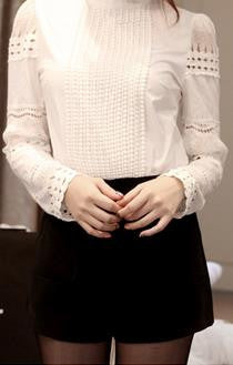 High Neck Lace Hollow Out Long Sleeves Pure Color Blouse - Meet Yours Fashion - 1