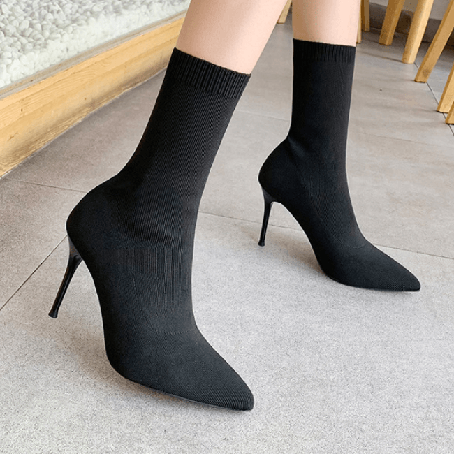 Sexy Point Toe Stretch High Heel Sock Calf Boots