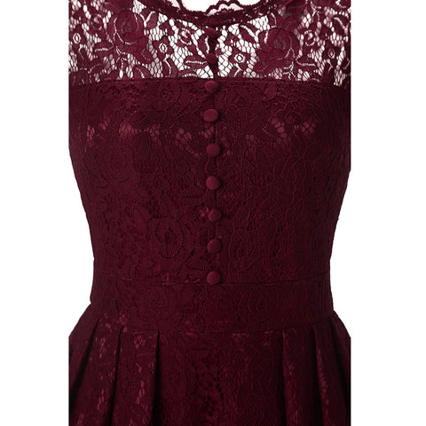 Solid Color Short Sleeves Women High Waist A-line Lace Short Dress