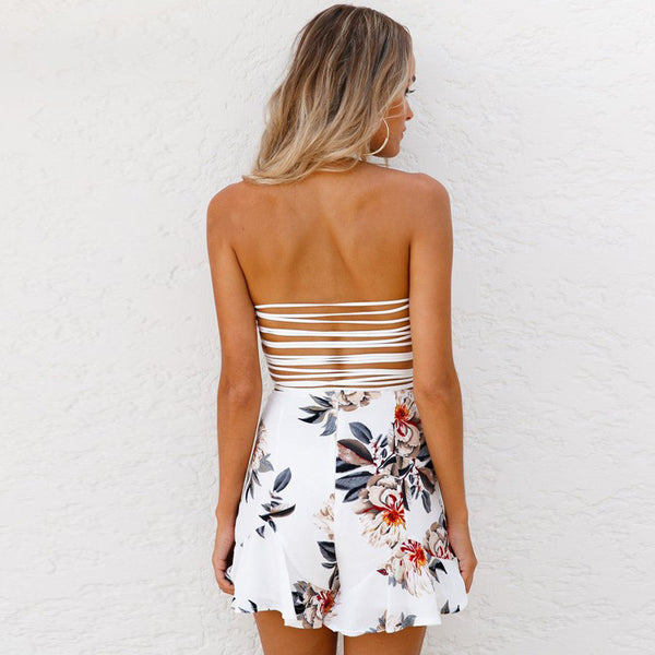 Sexy Strap Backless Print Sleeveless Short Jumpsuit