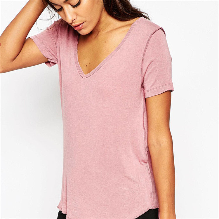 Sexy V-neck Pink Short Sleeve T-shirt