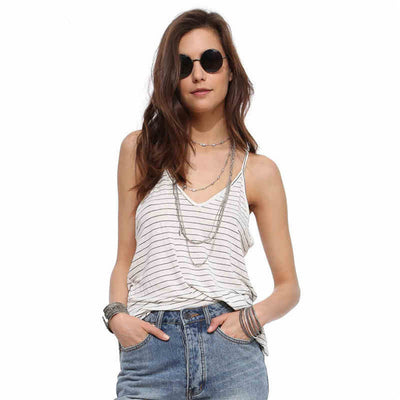V-Neck Backless Stripe Sexy Condole Belt Vest