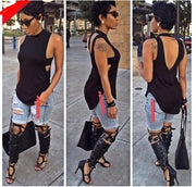 Backless Sleeveless High Neck Slim Sexy Blouse - Meet Yours Fashion - 4