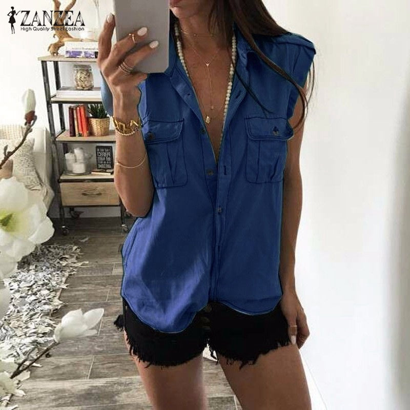 Loose V-neck Buttons Pockets Pure Color Sleeveless Regular Tank