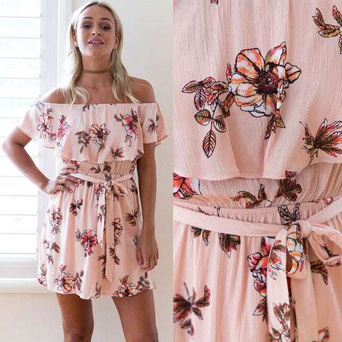 Floral Print Off Shoulder Short Dress