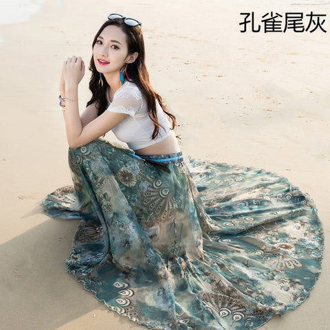 High Waist Bohemian Flower Print Loose Long Swing Chiffon Beach Skirt