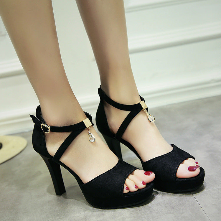 Ankle Straps Peep Toe Beads Platform Stiletto High Heels Sandals