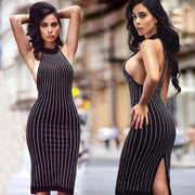Sexy Scoop Neckline Striped Backless Night Knee-length Dress