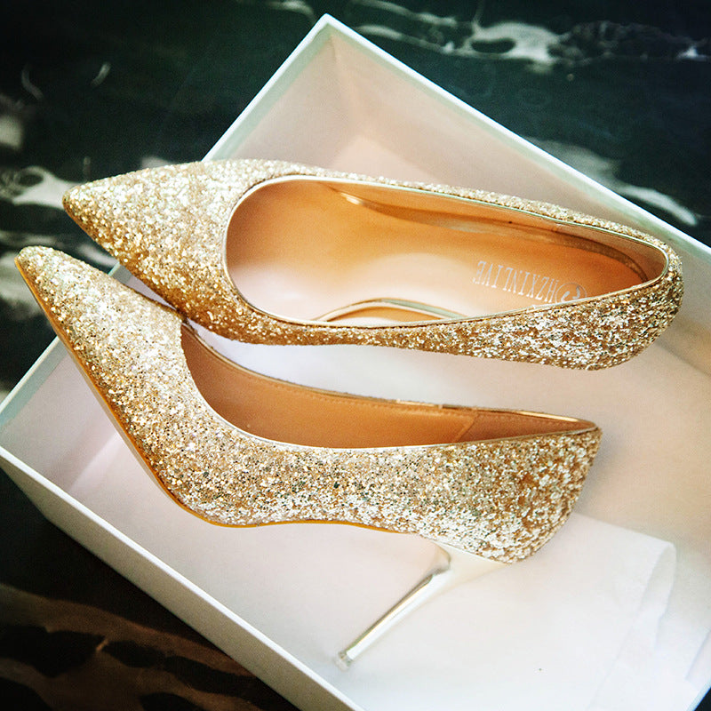 Sequins Shinning Low Cut Pointed Toe Stiletto High Heels Party Shoes