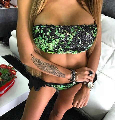 Shinning Sequins Strapless Low Waist Lace Up Two Pieces Swimwear Bikini