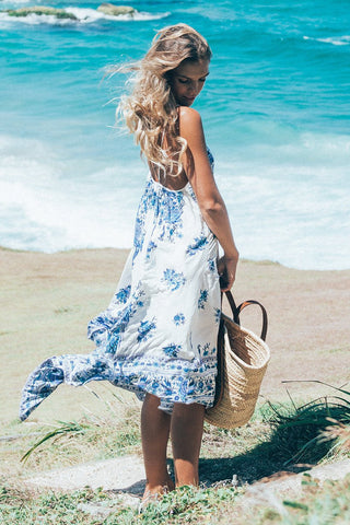 Spaghetti Straps Backless Print Long Beach Dress