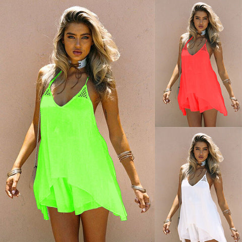 Spaghetti Straps Backless Pure Color Chiffon Short Dress