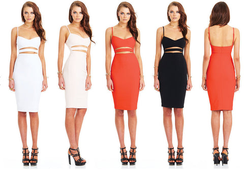 Spaghetti Strap Hollow Out Solid Bodycon Stretch Club Dress