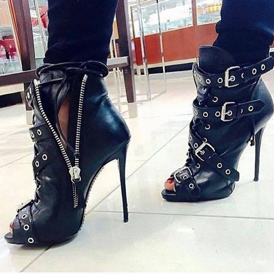 Belt Buckle Stiletto Heel Peep-toe Side Zipper High Heel Ankle Boot Sandals