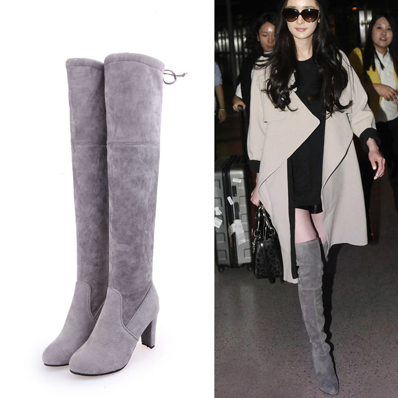 101078f8b0f Suede Chunky Heel Pointed Toe Over-knee Long Boots – Meet Yours Fashion
