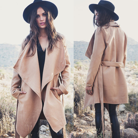 Khaki Belt Asymmetric Long sleeve Coat - Meet Yours Fashion - 2