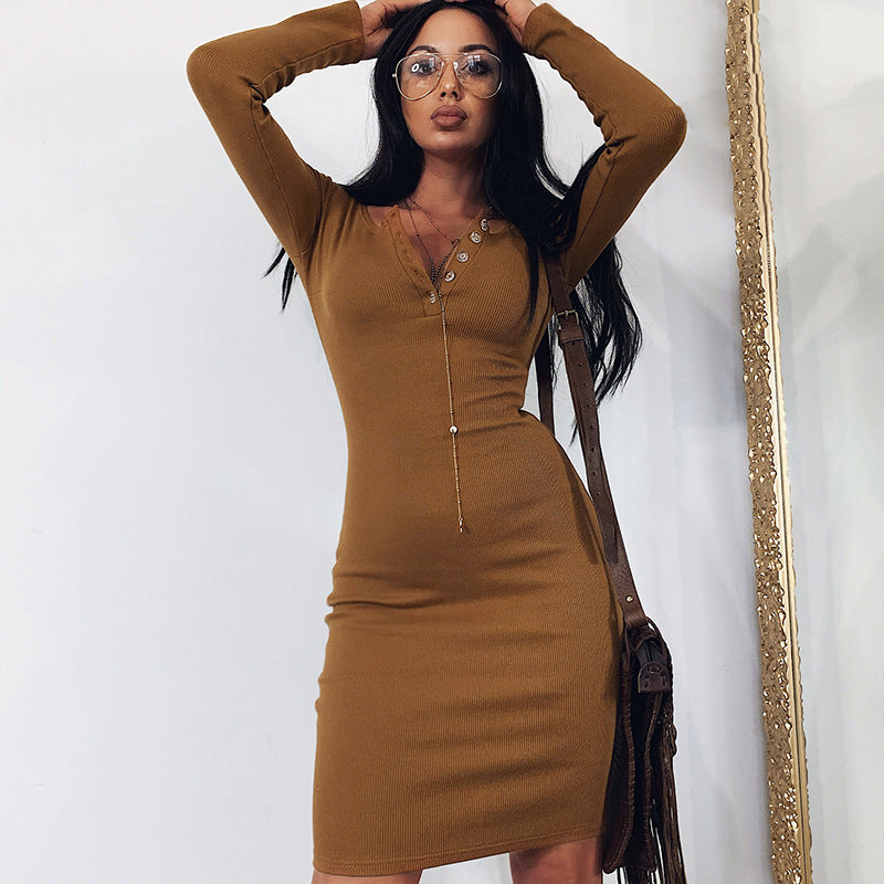 Plain Button Bodycon Long Sleeve Mini Dress