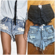 Pure Color Denim Low Waist Begger Style Loose Shorts