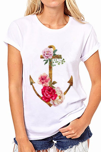 Flower Anchor Print Short Sleeves Scoop T-shirt