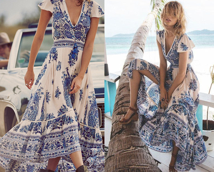 Flower Print V-neck Retro Short Sleeves Long Dress