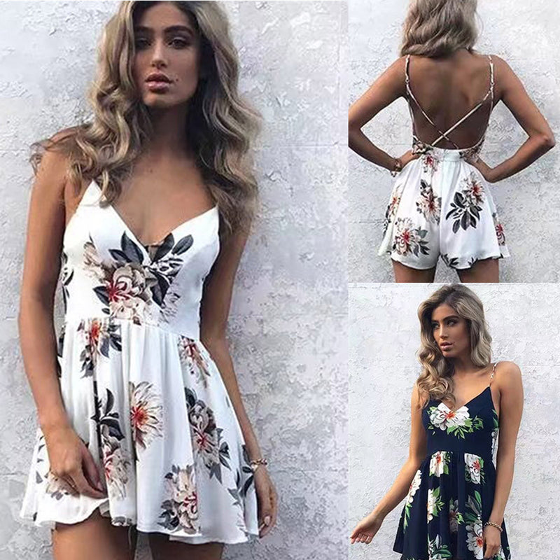 Print Spaghetti Straps Chiffon Backless Short Dress