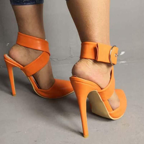 Orange Closed Toe Buckle Sandals
