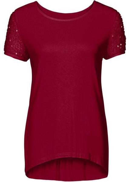 Sequins Short Sleeve Patchwork Scoop Irregular T-shirt