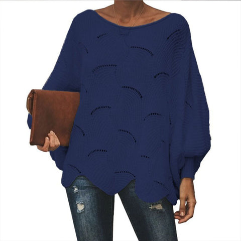 Loose Hollow Carved Balloon Sleeve Sweater