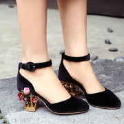 Fashion Seude Buckle Special Shaped Heel Sandals