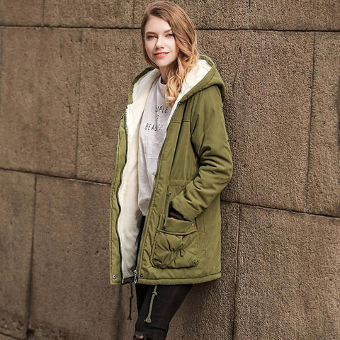 Solid Color Pockets Drawstring Women Warm Hooded Winter Oversized Coat