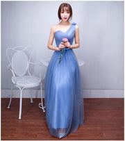 One Shoulder Pleated Empire High Waist Long Tulle Bridesmaid Party Dress
