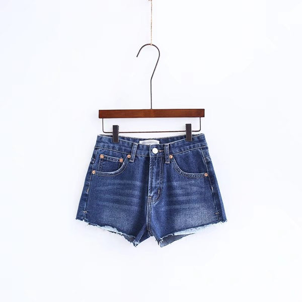 Curled Pure Color High Waist Denim Slim Shorts
