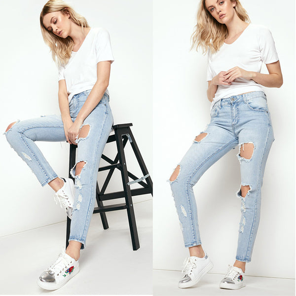 Casual Cut Out Holes Middle Waist Long Skinny Jeans
