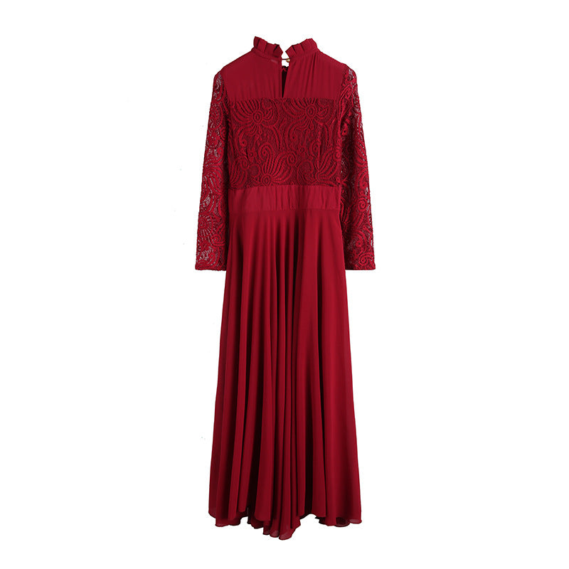8967d283266 Charming Long Lace Sleeves Pleated Chiffon Long Red Maxi Dress ...