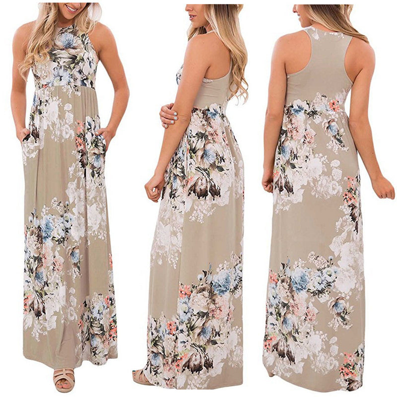 Flower Print Scoop SleevelessLong Fashion Dress
