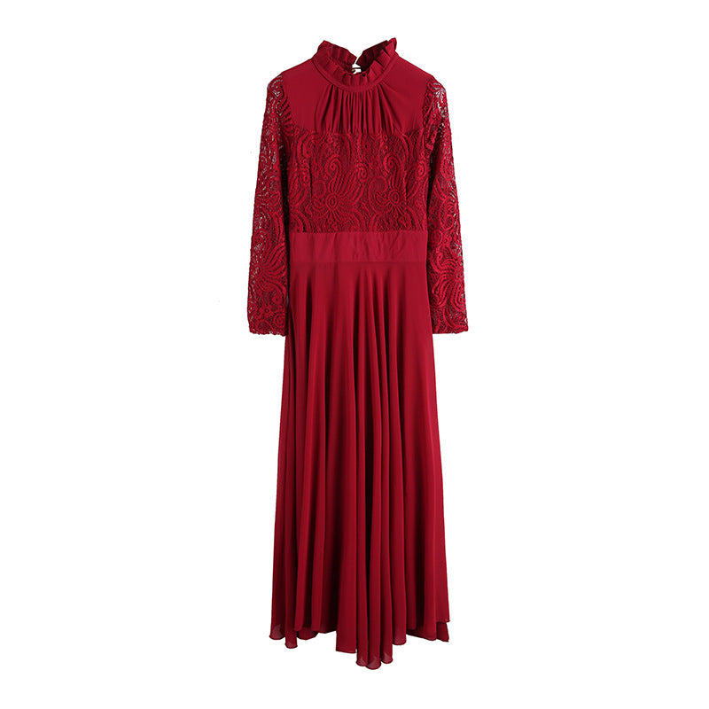 ... Charming Long Lace Sleeves Pleated Chiffon Long Red Maxi Dress ... ca468df50
