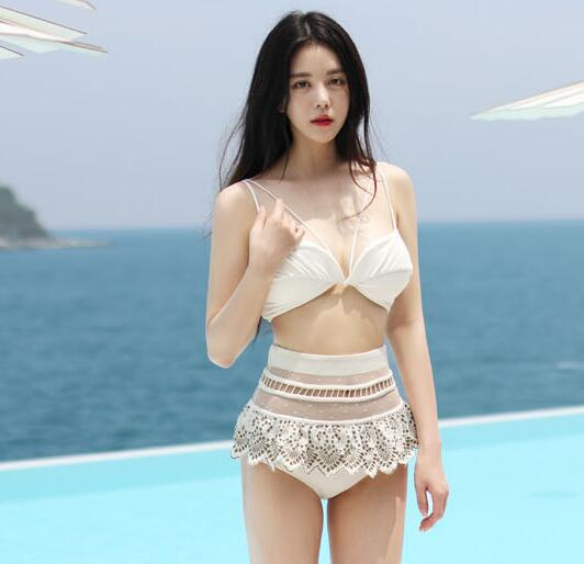 High-quality Off Shoulder Lace Patchwork High Waist Bikini Set Swimwear