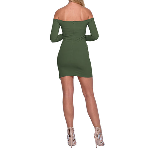 Irregular Hem Off Shoulder Long Sleeves Folding Short Dress