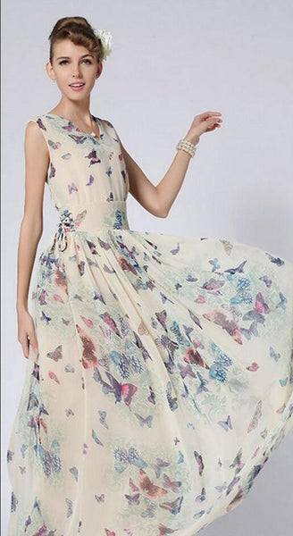 Butterfly Floral Print Sleeveless Long Chiffon Dress