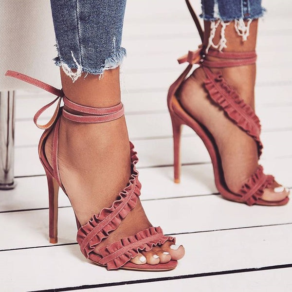 Straps Ankle Lace Up Open Toe Stiletto High Heels Sandals
