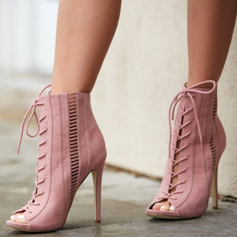 Lace UP Hollow Out Peep Toe Pure Color Stiletto High Heel Ankle Boot Sandals