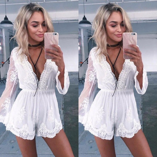 Deep V-neck Long Sleeves Lace Short Jumpsuit