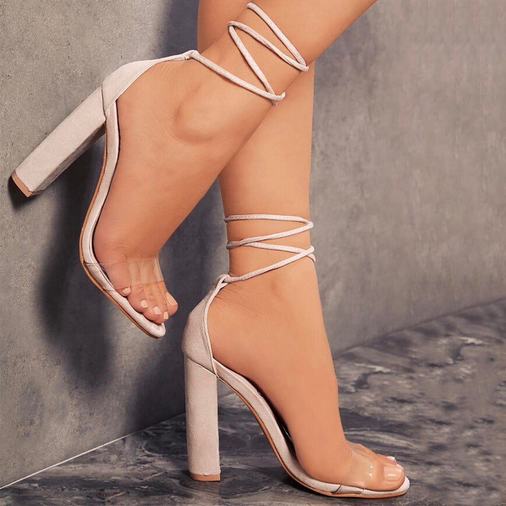 Ankle Lace Transparent Open Toe High Chunky Heels Sandals