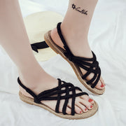 Roman Style Straps Cross Open Toe Flat Sandals