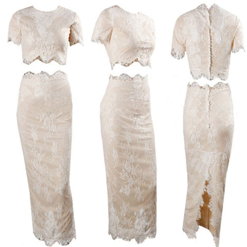 Transparent Lace Embrodirey Crop Top Knee-length Skirt Dress Set